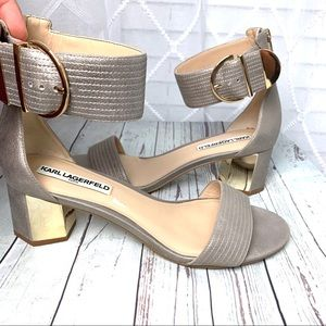 KARL LAGERFELD gold block sandals